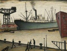 Queen's Dock, Glasgow Laurence Stephen Lowry The Lowry © the estate of L. All rights reserved, DACS Photo credit: The L. Salford, Jacques Yves Cousteau, Spencer, English Artists, Nautical Art, A Level Art, Art Database, Art Uk, Naive Art