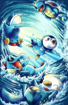 Pokemon water starters by michellescribbles.deviantart.com on @deviantART