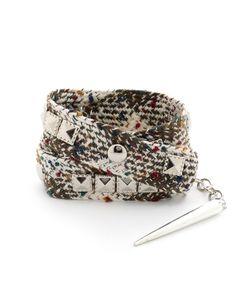 Studded Fabric Wrap Bracelet by Brittney Miranda - Beige and Olive #shoplately