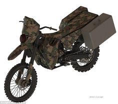 Silent Hawk is a hybrid engine bike for use in reconnaissance missions.The idea is that for normal operations, the bike would use diesel, gasoline or jet fuel. But when it gets closer to the enemy, it would run almost silently on electricity