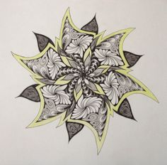 Zentangle Mandala by Sharon Robinson I love its symmetry. Tangle Doodle, Tangle Art, Doodles Zentangles, Zen Doodle, Doodle Art, Mehndi, Henna, Doodle Patterns, Zentangle Patterns
