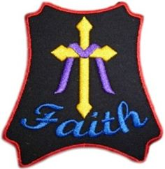 "Amazon.com: [Single Count] Custom and Unique (3 1/2"" Inches) Square Religious Catholic Cross Faith Text Iron On Embroidered Applique Patch {Yellow, Purple, Blue & Red Colors}: Arts, Crafts & Sewing"