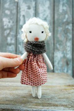 Cloth doll Rag doll mini handmade retro one of by lespetitesmainsS