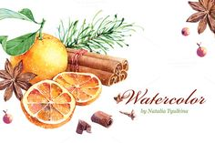 Watercolor mandarin & cinnamon by Natalia Tyulkina on Creative Market