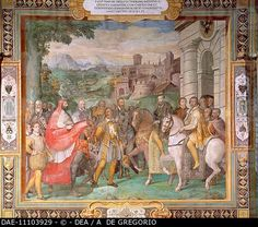 Palazzo Farnese , Caprarola, Italy : Cardinal Alexander, appointed by Pope Paul III, meets the Emperor Charles V and his brother Ferdinand King of the Romans near Worms