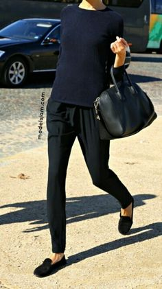Sweater, joggers, and loafers for a perfect weekend errands look