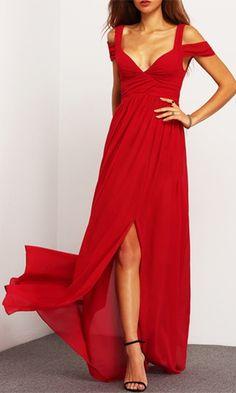 Turn And Pivot Red Sleeveless Off The Shoulder V Neck Front Slit Maxi Dress