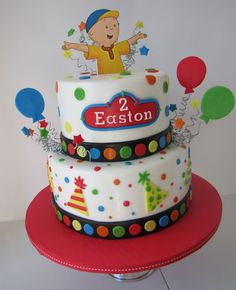 Baby #4 Birthday Cake with Chistopher Robert holding baby Poo instead of Caillou and 3D balloons