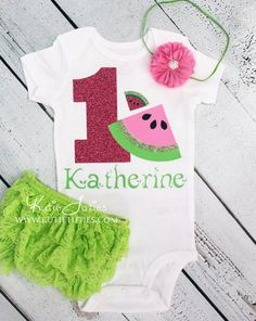 Watermelon Birthday Shirt, Bloomer, and Headband- Hot pink, green, pink, lime, personalized, baby girl, toddler, cake smash, first birthday