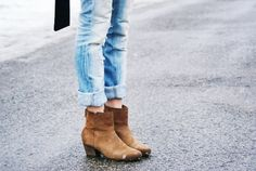 #ankle #booties #cuffedjeans