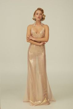 "Rose Gold Silk Boudoir Dress with Open Back ""Kelly"" - 2019 Elegant Dresses, Cute Dresses, Beautiful Dresses, Formal Dresses, Bridal Lingerie, Pretty Lingerie, Silk Gown, Silk Nightgown, Long Silk Dress"