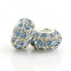 Silver Blue Yellow White Pattern Crystal Bead