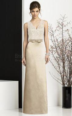 Sheath/Column Sleeveless V-neck Champagne Stretch Satin,Lace Floor-length Bridesmaid Dresses(UKBD03-743)