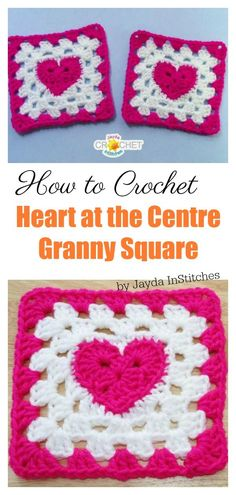 How to Crochet Heart at the Centre Granny Square Video Tutorial The Heart Granny Square Free Crochet Pattern shows how to make a granny square with a heart in the middle. They can be joined together for a baby blanket. Heart Granny Square, Motifs Granny Square, Granny Square Pattern Free, Granny Square Tutorial, Granny Square Projects, Sunburst Granny Square, Flower Granny Square, Granny Square Crochet Pattern, Crochet Squares