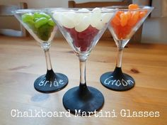 Set of 2 Chalk Stem Martini glasses. Awesome way to step up your party decor.  Great for gatherings: bachelorette party, baby shower, bridal