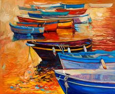 Abstract Painting - Boats by Ivailo Nikolov
