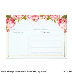 Shop Floral Vintage Pink Roses Custom Recipe Card created by Jujulili. Canning Labels, Canning Recipes, Organizing Labels, Printable Recipe Cards, Card Organizer, Vintage Floral, Wedding Designs, Pink Roses, Wedding Cards