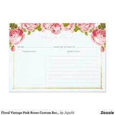 Floral Vintage Pink Roses Custom Recipe Card