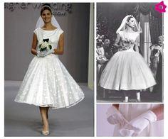 Jeżeli skusisz się na suknię ślubną tuż za kolana (w stylu lat 50.) koniecznie załóż do niej krótkie rękawiczk, najlpiej gładkie. Tak zrobił...