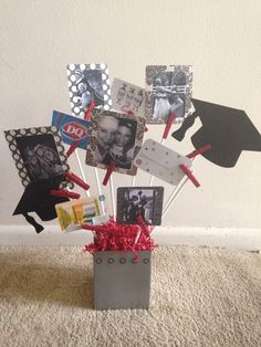 A bushel and a peck of fun teacher gift card bouquet misc graduation gift card bouquet with photos of us growing up together use a pencil holder negle Choice Image