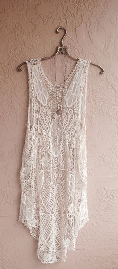 Image of Crochet Maxi Beach bohemian gypsy coverup for resort summer days