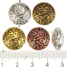 Zinc Alloy Round Flat Beads,Plated,Cadmium And Lead Free,Various Color For Choice,Approx 15.5*8.5mm,Hole:Approx 1mm,Sold By Bags,No 000858