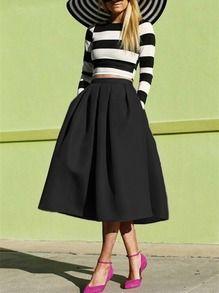 jupe évasée avec plissé -Noir