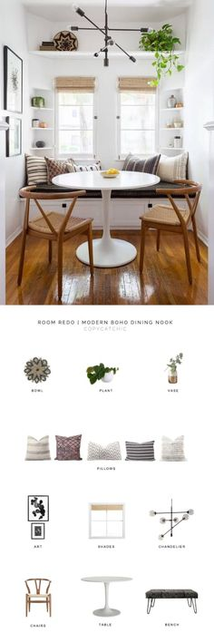 Room Redo This modern boho dining nook by Katie Hodges Design balances just the right amount of bohemian and modern. copycatchic recreates it for less! luxe living for less budget home decor and design daily finds and room redos Cozy Living Rooms, Apartment Living, Living Room Decor, Apartment Chic, Apartment Furniture, Apartment Kitchen, Apartment Design, Sweet Home, Home Decor Kitchen