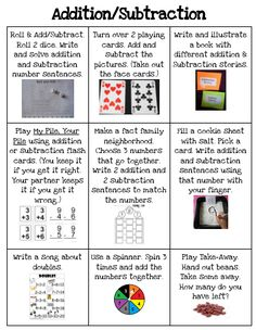 Addition/Subtraction Choice Board Math Addition, Addition And Subtraction, Repeated Addition, Addition Activities, Math Activities, Math Strategies, Math Resources, E Learning, Math Skills