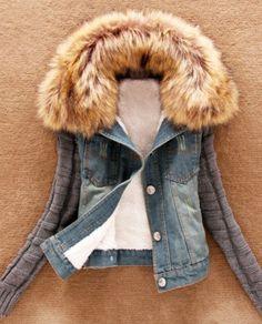 mixed media faux fur collar jacket