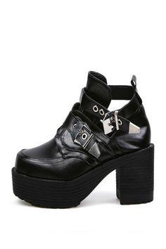 Vintage Black Punk Buckle Motorcycle Platform Shoes