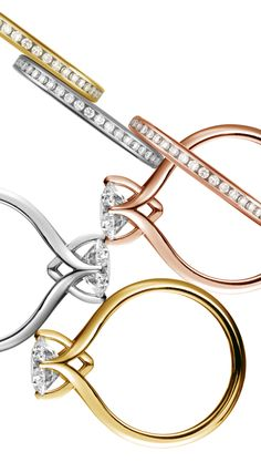 Coronet diamond rings in platinum, 18ct yellow gold and 18ct rose gold with matching channel set diamond bands