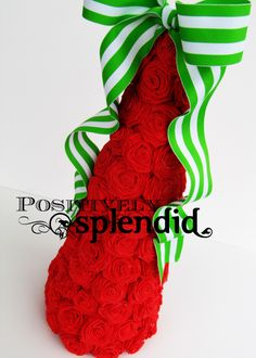 A beautiful holiday tree made from crepe paper rosettes. Visit Positively Splendid for a tutorial! Christmas Topiary, Cone Christmas Trees, Dollar Tree Christmas, Christmas Tree Crafts, Holiday Tree, Christmas Love, All Things Christmas, Christmas Holidays, Christmas Decorations