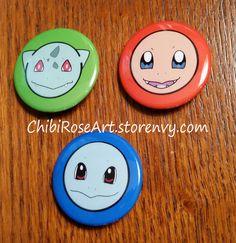 Gen 1 Starters Pinback Buttons by ChibiRoseArt.deviantart.com on @DeviantArt  On sale in my storenvy shop! Link is in my bio~