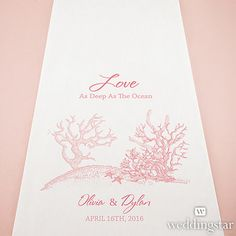 Reef Coral Personalized Aisle Runner - in Pecan or navy