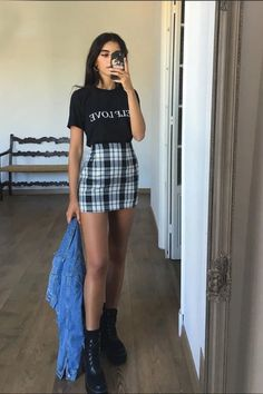 Grunge Style Outfits, Cute Casual Outfits, Fall Outfits, Summer Outfits, Plaid Outfits, Grunge Party Outfit, Look Fashion, Skirt Fashion, Fashion Outfits