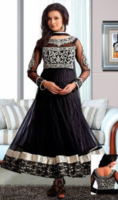 Black Net Flared Anarkali Churidar Dress Price: Usa Dollar $254, British UK Pound £148, Euro187, Canada CA$273 , Indian Rs13716.