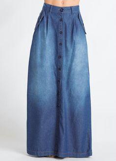Sgarbi Store | Saia longa jeans com botões