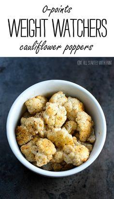 0-points weight watchers cauliflower poppers. Ingredients: cauliflower, cumin, chili powder, s and p
