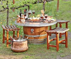Reclaimed Wine Barrel Fire Pit - Reclaimed and Repurposed - Furniture