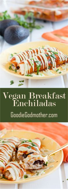 "Vegan breakfast enchiladas! A delicious, savory vegan breakfast casserole recipe that's so good, even ""tofu haters"" won't care. Recipe on GoodieGodmother.com"