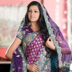 Purple Art Opara Silk Saree with Blouse and Dupatta