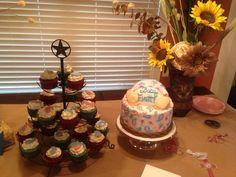 Cakes by Catie  Conway AR Baby shower cake and cupcakes