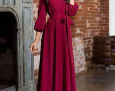 Long woman dress floor Autumn Winter Spring dress Maxi dress with a belt 3/4 sleeves Evening dress with pockets Elegant maxi dress