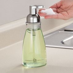 """Foaming Soap Dispenser - $12.99 Made w/ durable clear plastic & brushed nickel. 7 3/4"""" H x 3"""" dia. Holds 14 oz. Foam-dispensing design saves soap & money! *Add 5 parts water to 1 part soap.*"""