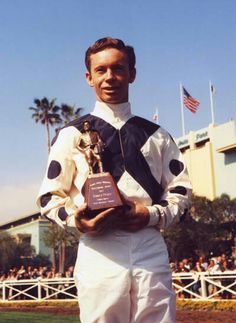 Don Pierce (1937-) was a superb jockey who, in 1973, led all North American jockeys with 32 stakes winners. In a career lasting from 1954-1984 he accumulated 28,740 mounts, 3,546 wins for a winning percentage of 12.3%. The winner of the 1967 George Woolf Memorial Jockey Award. Don Pierce was inducted into the Hall of Fame in 2010.