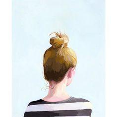 """perfection. 5x7"""" hair art - bun print - """"Top Knot 25"""" via ElizabethMayville on Etsy"""