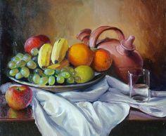 bodegón de frutas al óleo