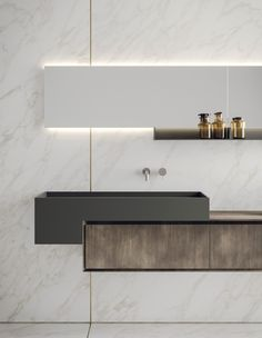 Lacquered wall-mounted vanity unit with mirror LIBERA+ Bad Inspiration, Bathroom Inspiration, Modern Bathroom Design, Bathroom Interior Design, Modern Bathrooms, Bath Design, Bathroom Designs, Modern Bathroom Furniture, Modern Toilet Design