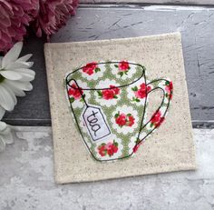 Mug Coaster, Tea Coaster, Floral Gift, Birthday Gift, Gift For Her, Gift For A Tea Drinker, Green Coaster, Desk Coaster, Small Gift Idea by TheCornishCoasterCo on Etsy